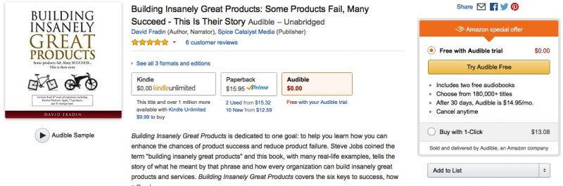 "Now Available as an Audio Book: ""Building Insanely Great Products"